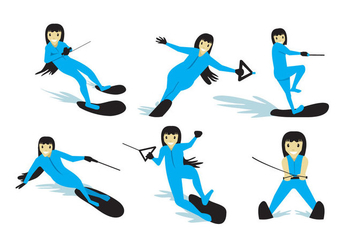 Water Skiing Girl Vector - Kostenloses vector #355273