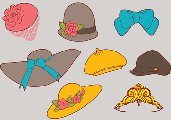Ladies' Hats Vector Set - Kostenloses vector #355653