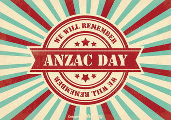 Retro Style Anzac Day Illustration - Free vector #355663