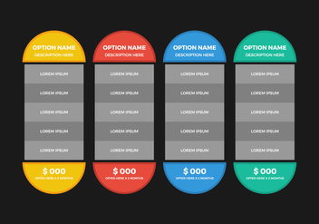 Free Pricing Table Vector - Kostenloses vector #355683