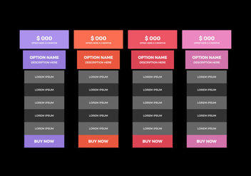 Free Pricing Table Vector - Kostenloses vector #355733