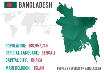 Free Vector Bangladesh World Map With Diamond Texture - vector gratuit #355843