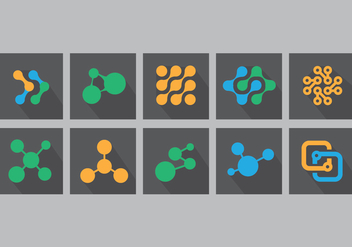Nanotechnology Flat Icon Set - vector gratuit #355913