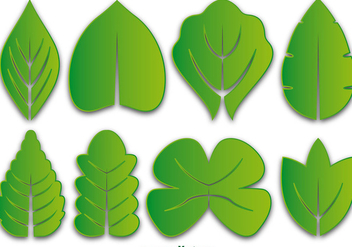 Green Leaves Vector Icon Set - vector #356133 gratis