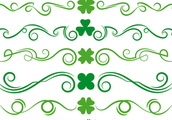 Green Clover Scrollwork Vector Set - бесплатный vector #356143
