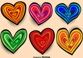 Colorful Hand-drawn Heart Vectors - vector gratuit #356203