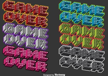 3D Colorful Game Over Vector Messages - vector gratuit #356303