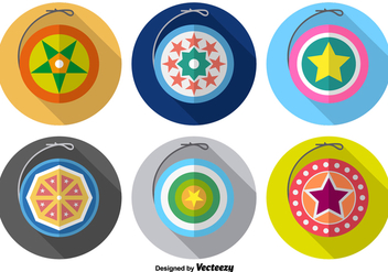 Cute Yo-yo Colorful Vector Icons - Free vector #356343