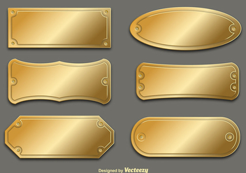 Vector Golden Name Plates - vector gratuit #356383