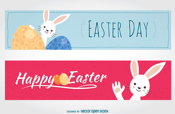 Rabbit flat Easter banners - бесплатный vector #356433