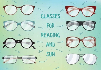 Free Sun And Reading Glasses Vectot - бесплатный vector #356643