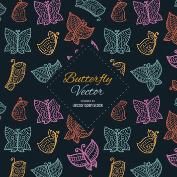 Ornamented and stylish butterflies background - Free vector #356923