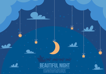 Free Beautiful Night Santa Sleigh Vector - Kostenloses vector #356963