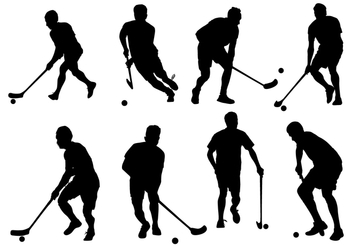Free Vector Floorball Silhouette On White Background - Free vector #356993