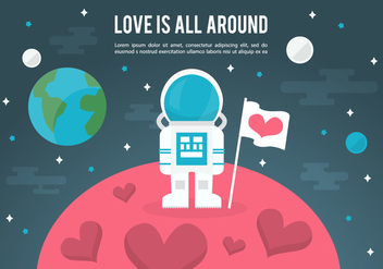 Free Space Love Vector Illustration - vector gratuit #357033