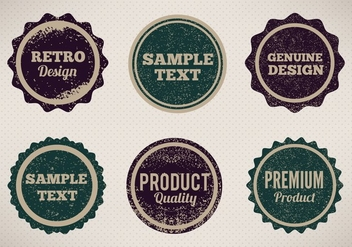 Free Vector Vintage Style Badges With Eroded Grunge - бесплатный vector #357043