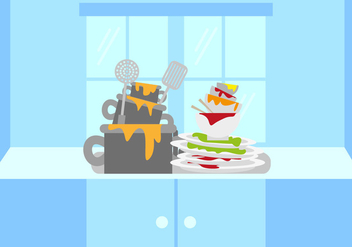 Dirty Dishes Illustration Vector - бесплатный vector #357073