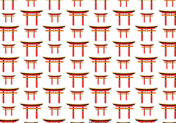 Japanese Torii Gate Seamless Pattern - vector gratuit #357113