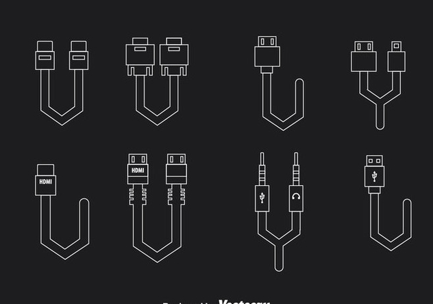 Cable Wire Connection Outline Icons - Free vector #357143