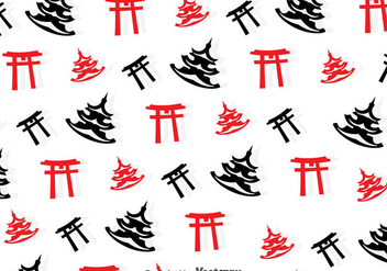 Toruu Gate And Temple Seamless Pattern - vector gratuit #357243