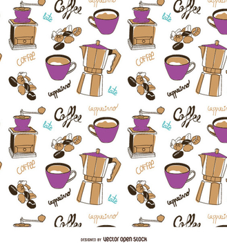 Coffee elements pattern - Kostenloses vector #357433