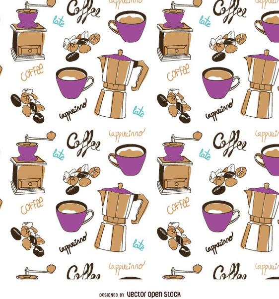 Coffee elements pattern - vector #357433 gratis