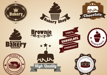 Brownie and Dessert Badges Vector Set - vector gratuit #357473