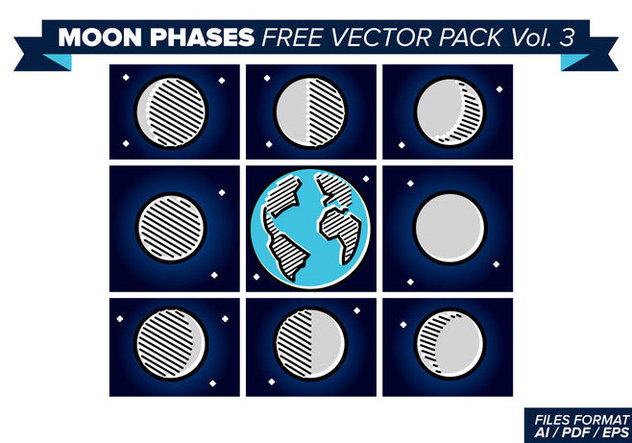 Moon Phases Free Vector Pack 3 - Free vector #357503