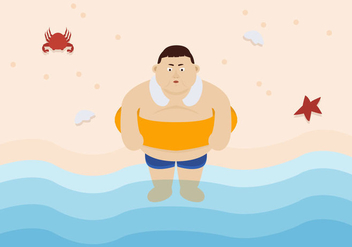 Vector Fat Guy at the Beach - vector gratuit #357553