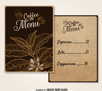 Coffee menu template - Free vector #357663