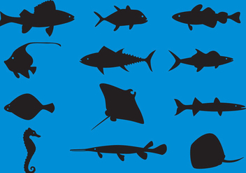 Sea Animals Silhouette Vectors - бесплатный vector #357713