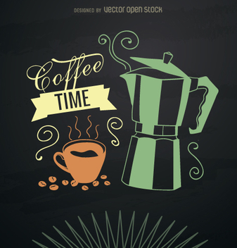 Smoky coffee maker card - vector gratuit #357853