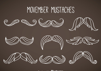 Movember Mustaches White Vector - Free vector #357953