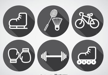 Sports Long Shadow Icons Vector - Free vector #358143