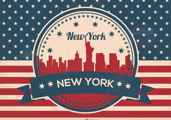Retro New York Skyline Illustration - vector gratuit #358353