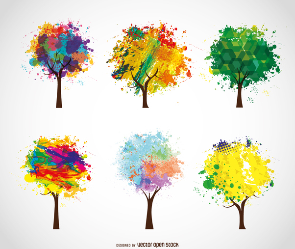 6 colorful artistic trees - Free vector #358483