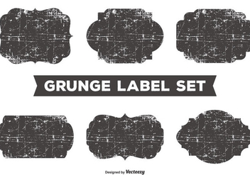 Messy Grunge Label Set - vector gratuit #358553