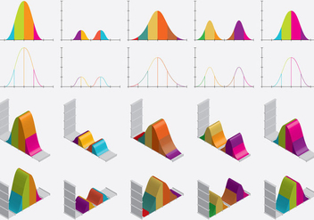Flat And Isometric Bell Curves - vector gratuit #358583
