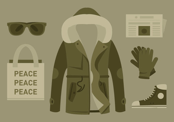 Vector Hipster Coat and Accessories - vector gratuit #358623