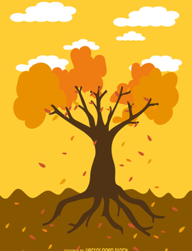 Autumn tree cartoon - бесплатный vector #358733