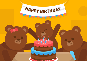 Vector First Birthday Bear - vector gratuit #358873