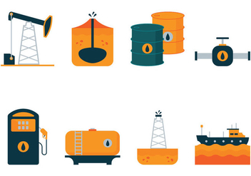 Vector Oil Flat Icons - Kostenloses vector #359263
