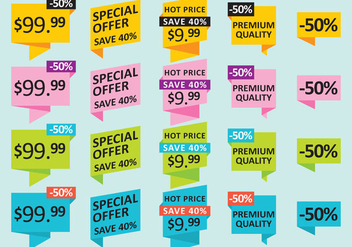 Pricing And Offer Stickers - бесплатный vector #359363