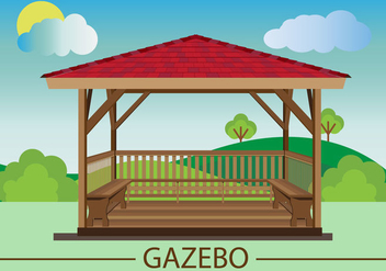 Gazebo Flat Design vector - бесплатный vector #359623