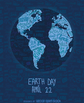 Earth Day written world map - Free vector #359703