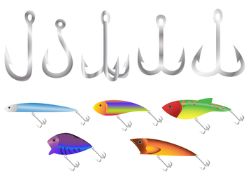 Plastic Fish Bait Hook Vectors - бесплатный vector #359893