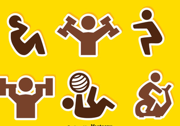 People Exercise Sticker Icons - Free vector #359933