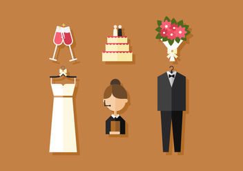 Vector Wedding Icons - vector gratuit #360133