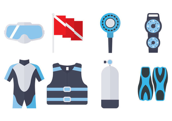 Dive Equipment Flat Icon - vector #360183 gratis