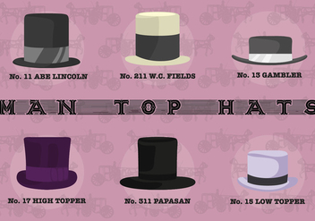 Free Man Top Hats Vector - бесплатный vector #360213